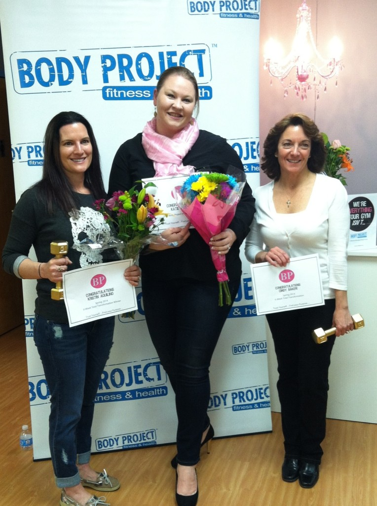 Congrats to our Spring 2014 6-Week Transformation winners:  Kristin Aquilino (left), Cindy Baker (right) and our 2014 Inspiration Award winner Katie Zurich (center)!